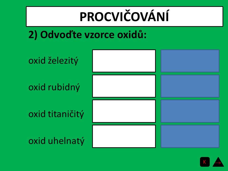 PROCVIČOVÁNÍ oxid železitý oxid rubidný oxid titaničitý oxid uhelnatý Fe 2 O 3 Rb 2 O TiO 2 CO 2) Odvoďte vzorce oxidů: K