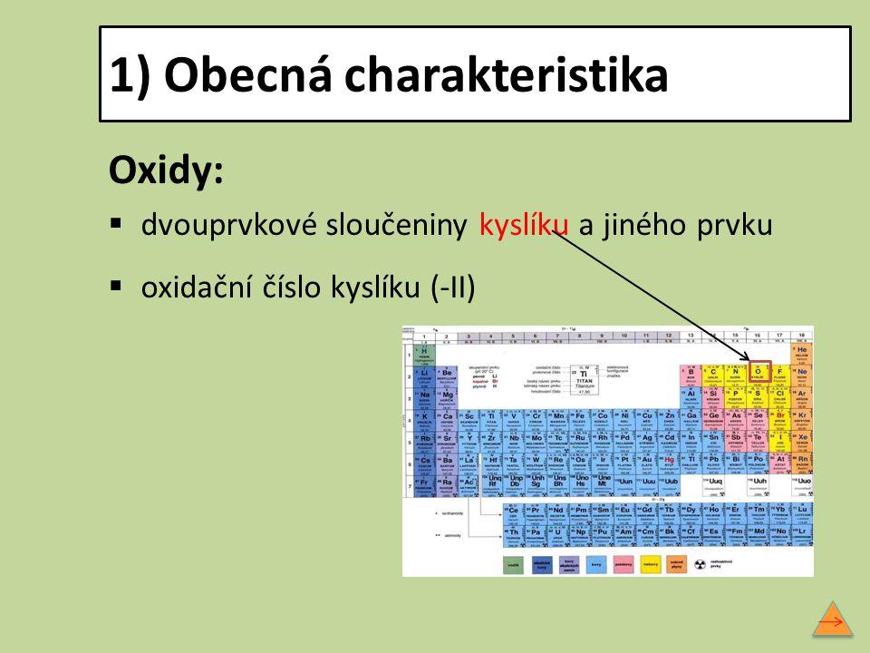 1) Obecná charakteristika Oxidy:  dvouprvkové sloučeniny kyslíku a jiného prvku  oxidační číslo kyslíku (-II)