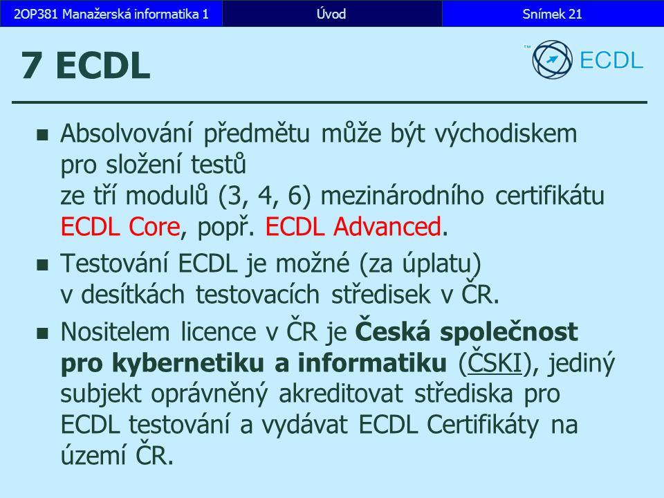 ÚvodSnímek 212OP381 Manažerská informatika 1 7 ECDL Absolvování předmětu může být východiskem pro složení testů ze tří modulů (3, 4, 6) mezinárodního