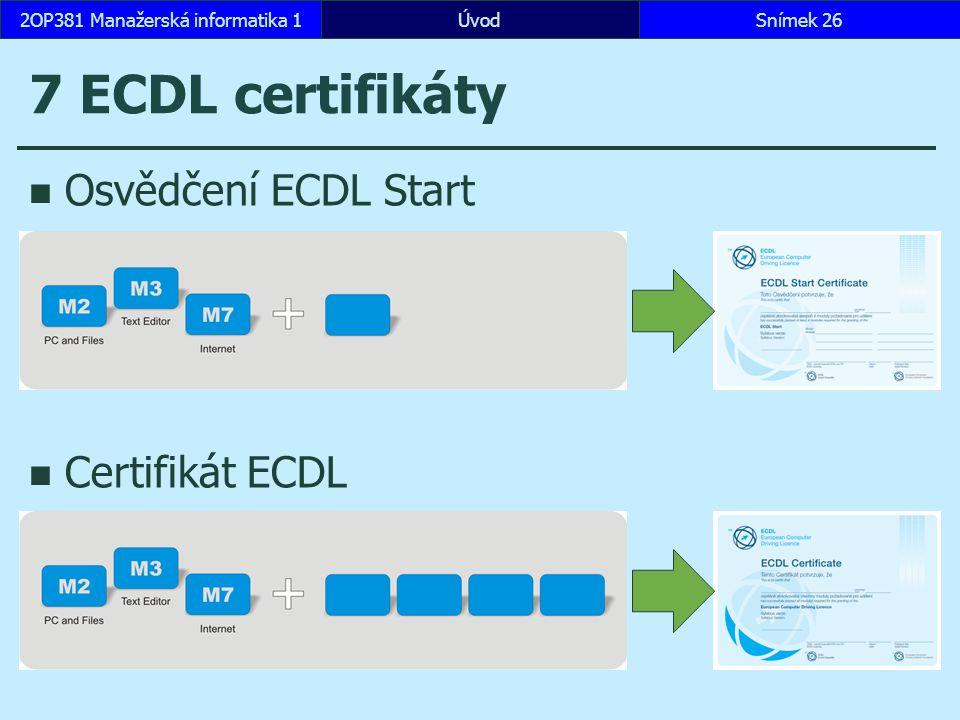 ÚvodSnímek 262OP381 Manažerská informatika 1 7 ECDL certifikáty Osvědčení ECDL Start Certifikát ECDL