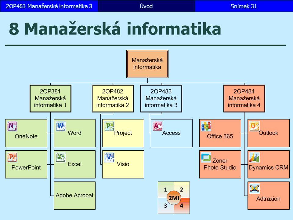 ÚvodSnímek 312OP483 Manažerská informatika 3 8 Manažerská informatika