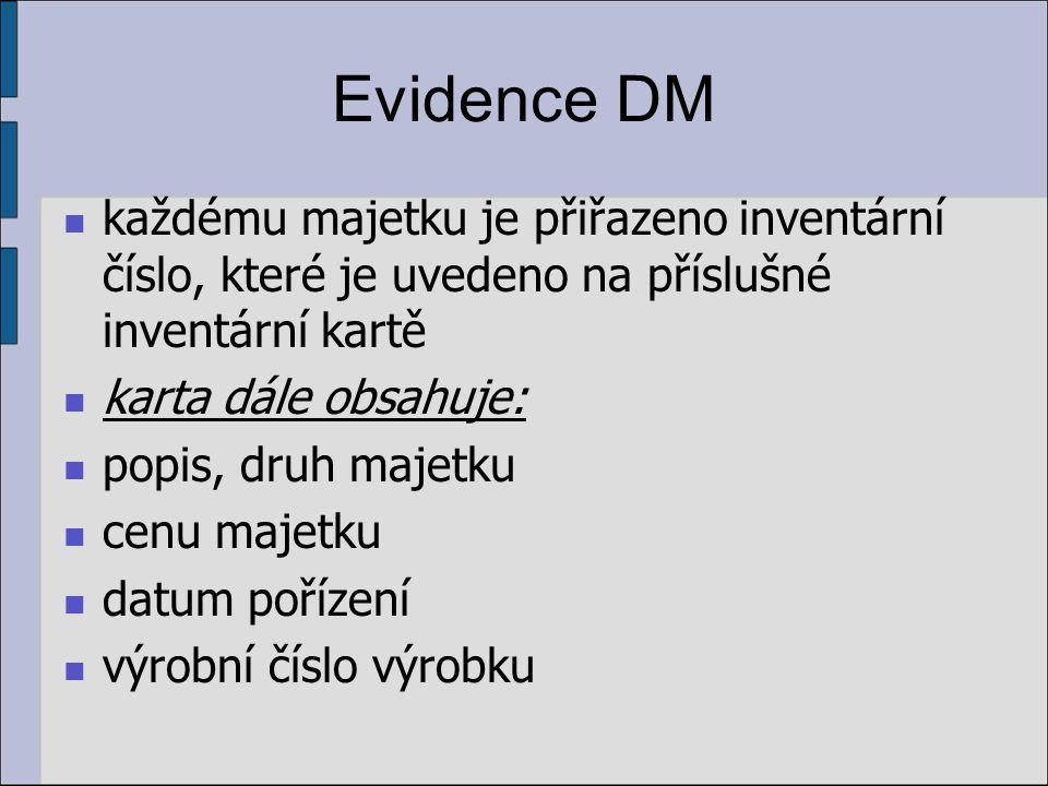 Evidence DM každému majetku je přiřazeno inventární číslo, které je uvedeno na příslušné inventární kartě karta dále obsahuje: popis, druh majetku cenu majetku datum pořízení výrobní číslo výrobku