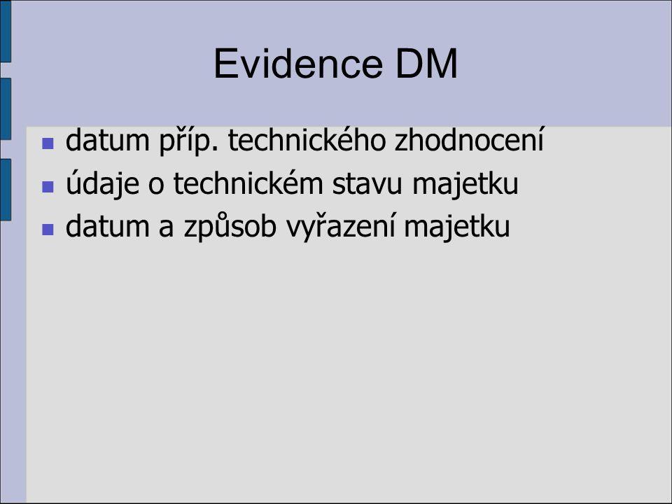 Evidence DM datum příp. technického zhodnocení údaje o technickém stavu majetku datum a způsob vyřazení majetku
