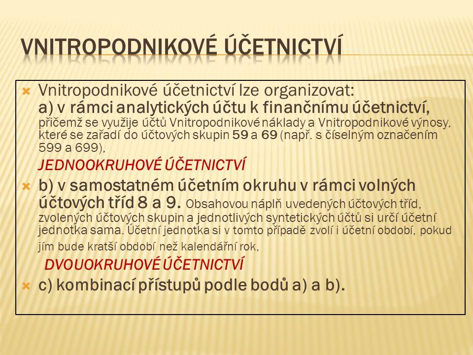  Vnitropodnikové účetnictví lze organizovat: a) v rámci analytických účtu k finančnímu účetnictví, přičemž se využije účtů Vnitropodnikové náklady a Vnitropodnikové výnosy, které se zařadí do účtových skupin 59 a 69 (např.