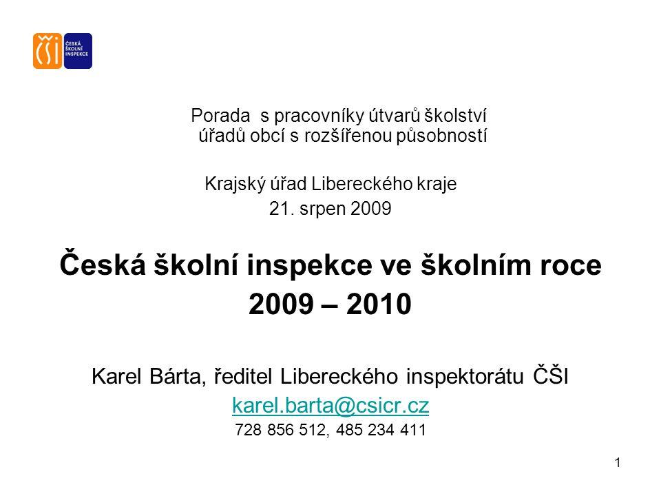 1 Porada s pracovníky útvarů školství úřadů obcí s rozšířenou působností Krajský úřad Libereckého kraje 21.