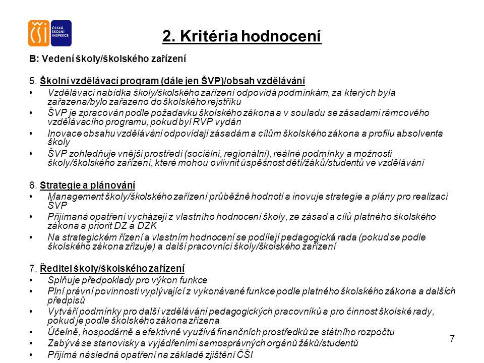 7 2. Kritéria hodnocení B: Vedení školy/školského zařízení 5. Školní vzdělávací program (dále jen ŠVP)/obsah vzdělávání Vzdělávací nabídka školy/škols