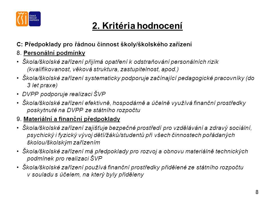 8 2. Kritéria hodnocení C: Předpoklady pro řádnou činnost školy/školského zařízení 8. Personální podmínky Škola/školské zařízení přijímá opatření k od