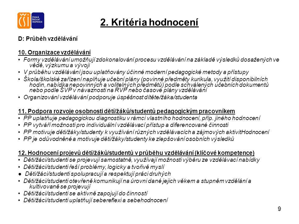 9 2. Kritéria hodnocení D: Průběh vzdělávání 10. Organizace vzdělávání Formy vzdělávání umožňují zdokonalování procesu vzdělávání na základě výsledků