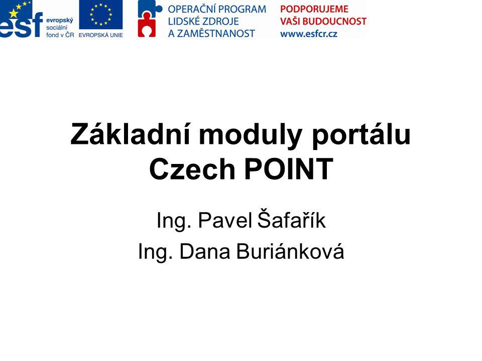 Základní moduly portálu Czech POINT Ing. Pavel Šafařík Ing. Dana Buriánková