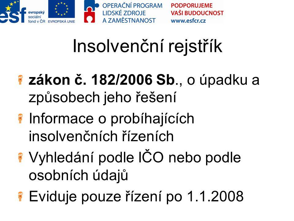 Insolvenční rejstřík zákon č. 182/2006 Sb., o úpadku a způsobech jeho řešení Informace o probíhajících insolvenčních řízeních Vyhledání podle IČO nebo