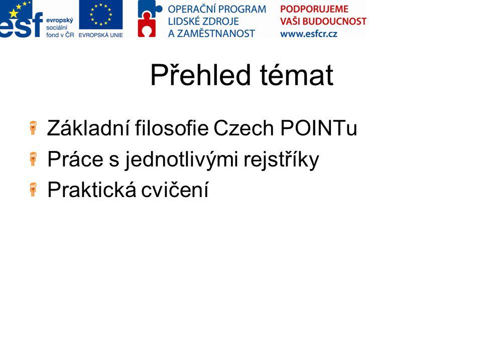 Přehled témat Základní filosofie Czech POINTu Práce s jednotlivými rejstříky Praktická cvičení