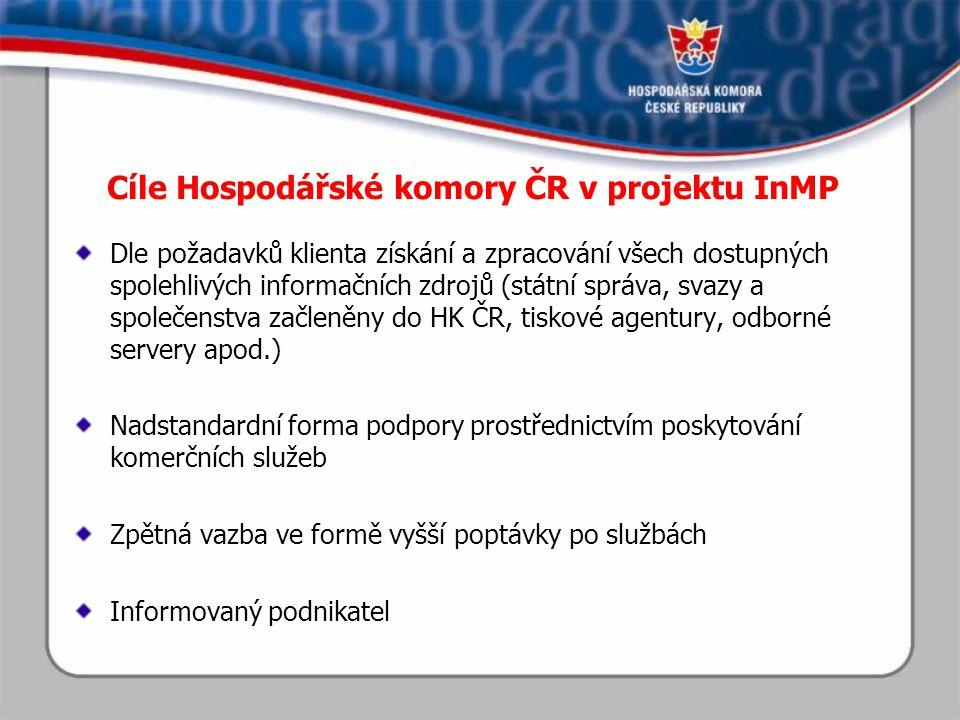 Centrální informační místo při úřadu HK ČR Řídí a koordinuje projekt.