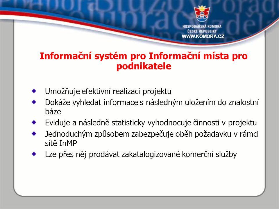 Umožňuje efektivní realizaci projektu Dokáže vyhledat informace s následným uložením do znalostní báze Eviduje a následně statisticky vyhodnocuje činnosti v projektu Jednoduchým způsobem zabezpečuje oběh požadavku v rámci sítě InMP Lze přes něj prodávat zakatalogizované komerční služby Informační systém pro Informační místa pro podnikatele WWW.KOMORA.CZ