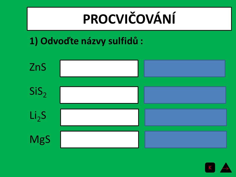 PROCVIČOVÁNÍ ZnS SiS 2 Li 2 S MgS sulfid zinečnatý sulfid křemičitý sulfid lithný sulfid hořečnatý 1) Odvoďte názvy sulfidů : K