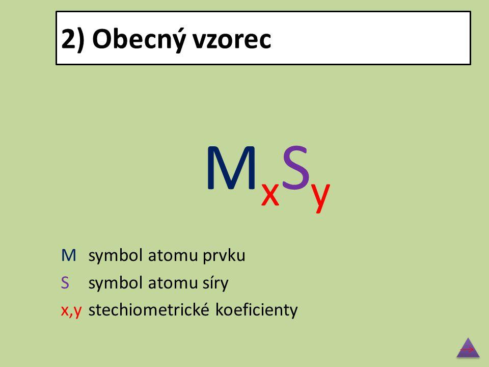 2) Obecný vzorec M x S y Msymbol atomu prvku Ssymbol atomu síry x,ystechiometrické koeficienty
