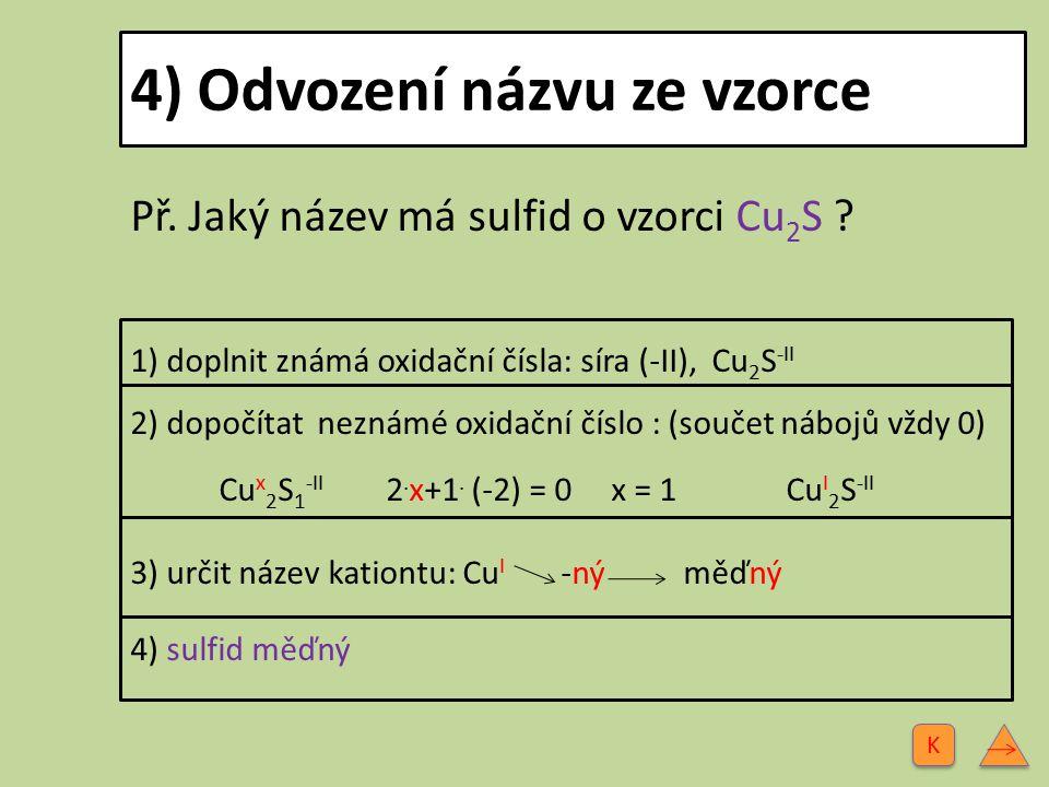5) Odvození vzorce z názvu Př.Jaký vzorec má sulfid železnatý.