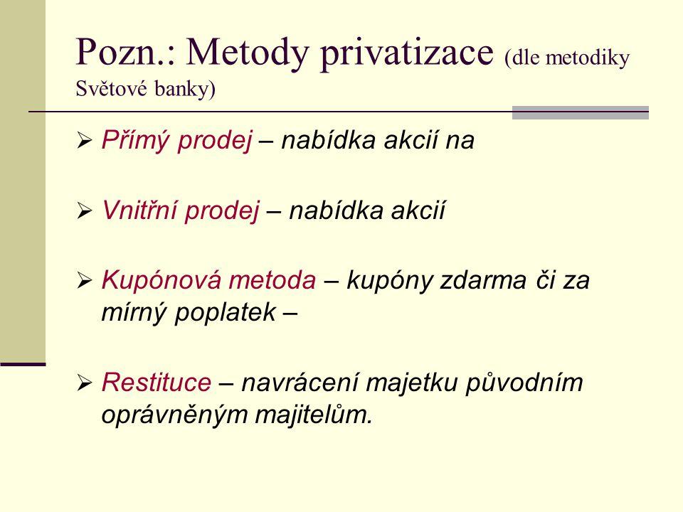 Pozn.: Metody privatizace (dle metodiky Světové banky)  Přímý prodej – nabídka akcií na  Vnitřní prodej – nabídka akcií  Kupónová metoda – kupóny z