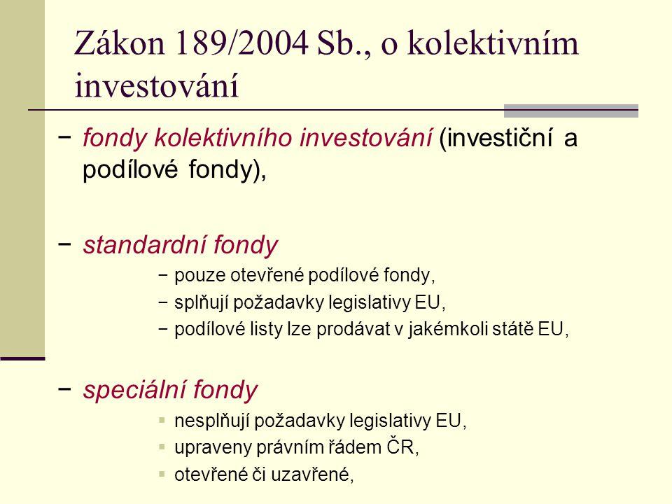 Zákon 189/2004 Sb., o kolektivním investování −fondy kolektivního investování (investiční a podílové fondy), −standardní fondy −pouze otevřené podílové fondy, −splňují požadavky legislativy EU, −podílové listy lze prodávat v jakémkoli státě EU, −speciální fondy  nesplňují požadavky legislativy EU,  upraveny právním řádem ČR,  otevřené či uzavřené,