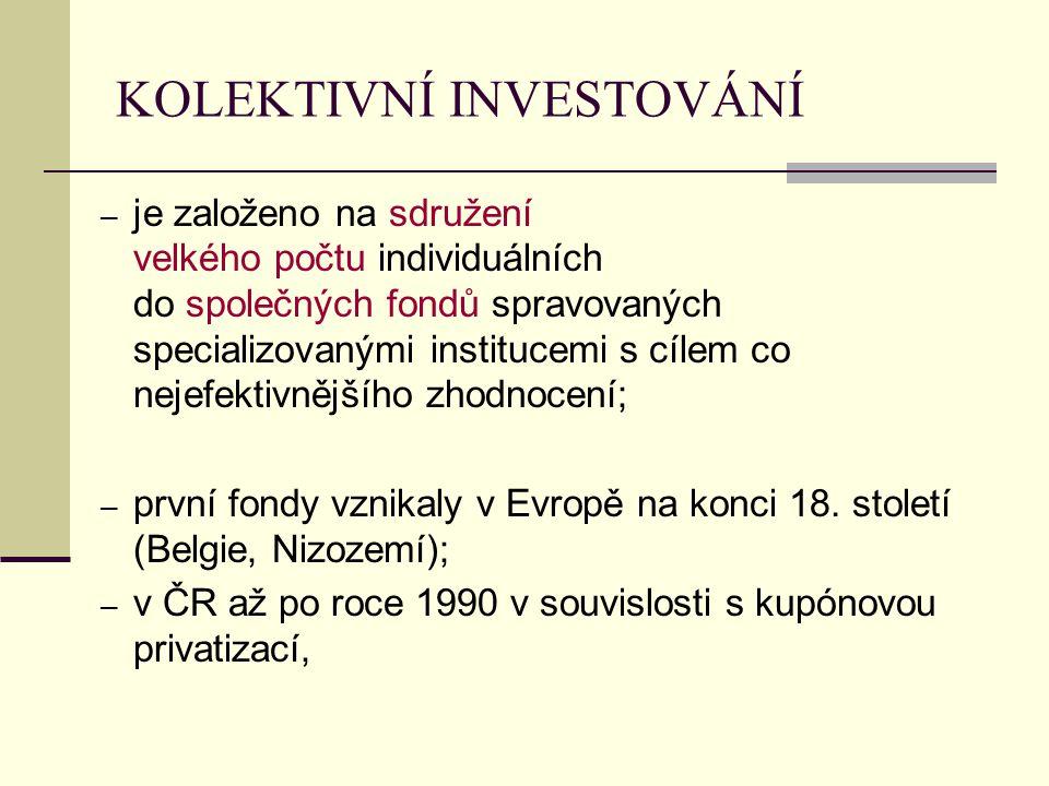 KOLEKTIVNÍ INVESTOVÁNÍ ─ je založeno na sdružení velkého počtu individuálních do společných fondů spravovaných specializovanými institucemi s cílem co nejefektivnějšího zhodnocení; ─ první fondy vznikaly v Evropě na konci 18.