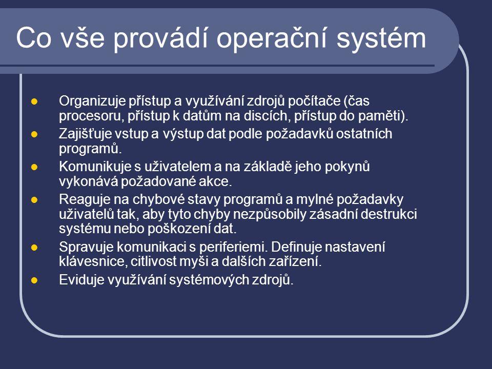 Co vše provádí operační systém Organizuje přístup a využívání zdrojů počítače (čas procesoru, přístup k datům na discích, přístup do paměti). Zajišťuj