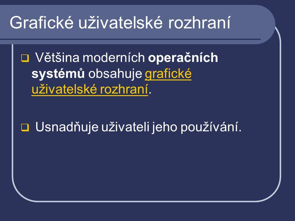 Grafické uživatelské rozhraní  Většina moderních operačních systémů obsahuje grafické uživatelské rozhraní.grafické uživatelské rozhraní  Usnadňuje uživateli jeho používání.