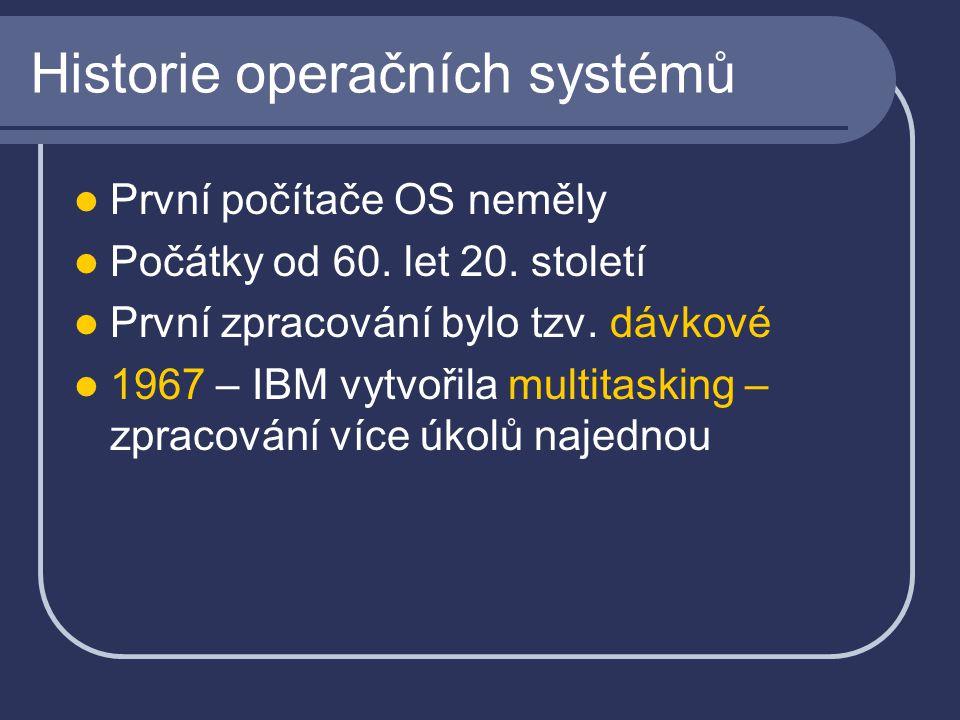 Historie operačních systémů První počítače OS neměly Počátky od 60.
