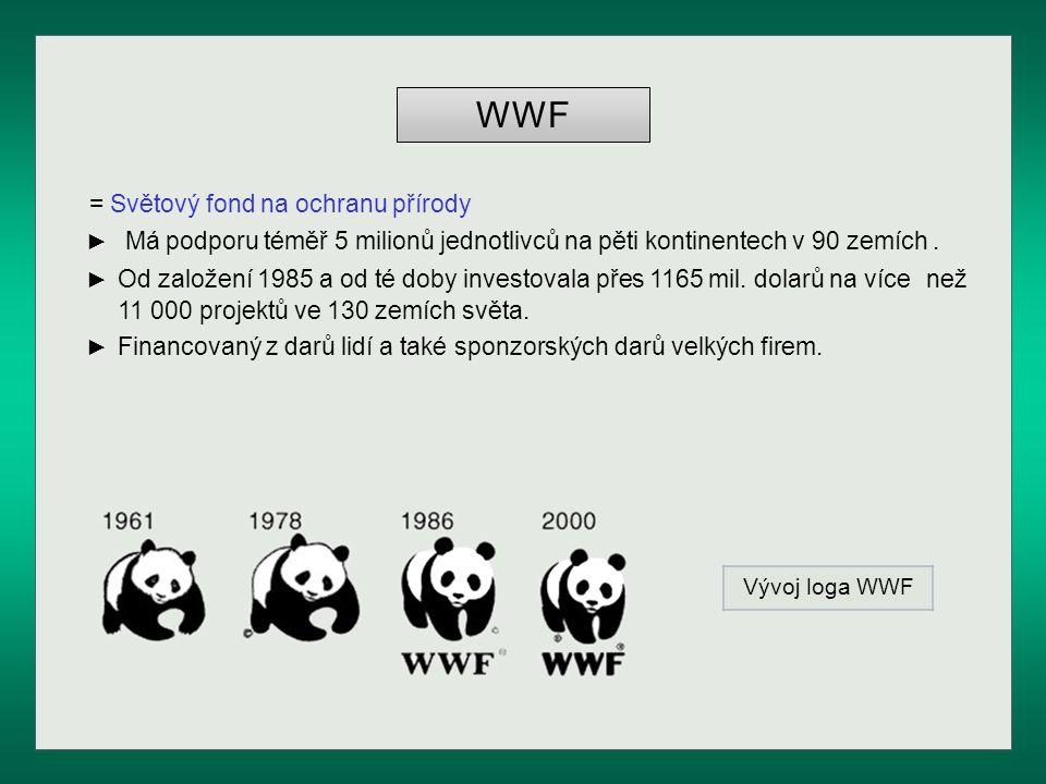 WWF = Světový fond na ochranu přírody ► Má podporu téměř 5 milionů jednotlivců na pěti kontinentech v 90 zemích. ► Od založení 1985 a od té doby inves