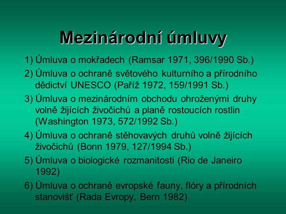 1) Ramsarská úmluva Ramsar 1971, pro ČR závazná od 2.