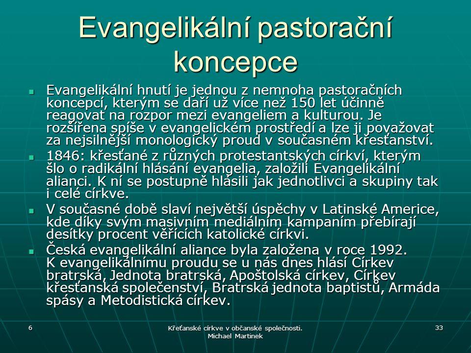 6 Křeťanské církve v občanské společnosti. Michael Martinek 33 Evangelikální pastorační koncepce Evangelikální hnutí je jednou z nemnoha pastoračních