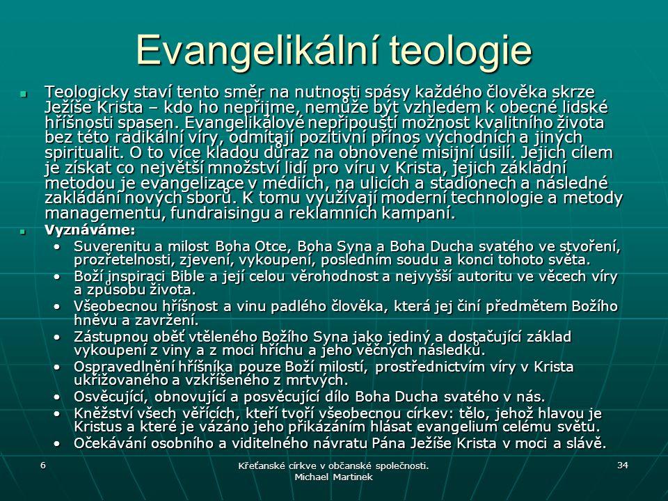 6 Křeťanské církve v občanské společnosti. Michael Martinek 34 Evangelikální teologie Teologicky staví tento směr na nutnosti spásy každého člověka sk