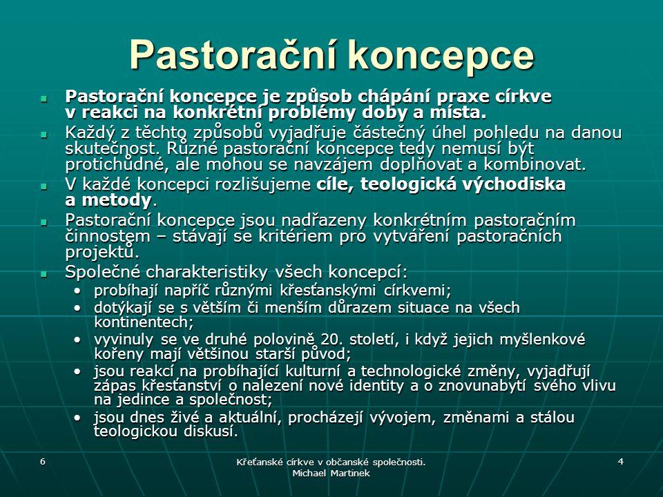 6 Křeťanské církve v občanské společnosti. Michael Martinek 4 Pastorační koncepce Pastorační koncepce je způsob chápání praxe církve v reakci na konkr