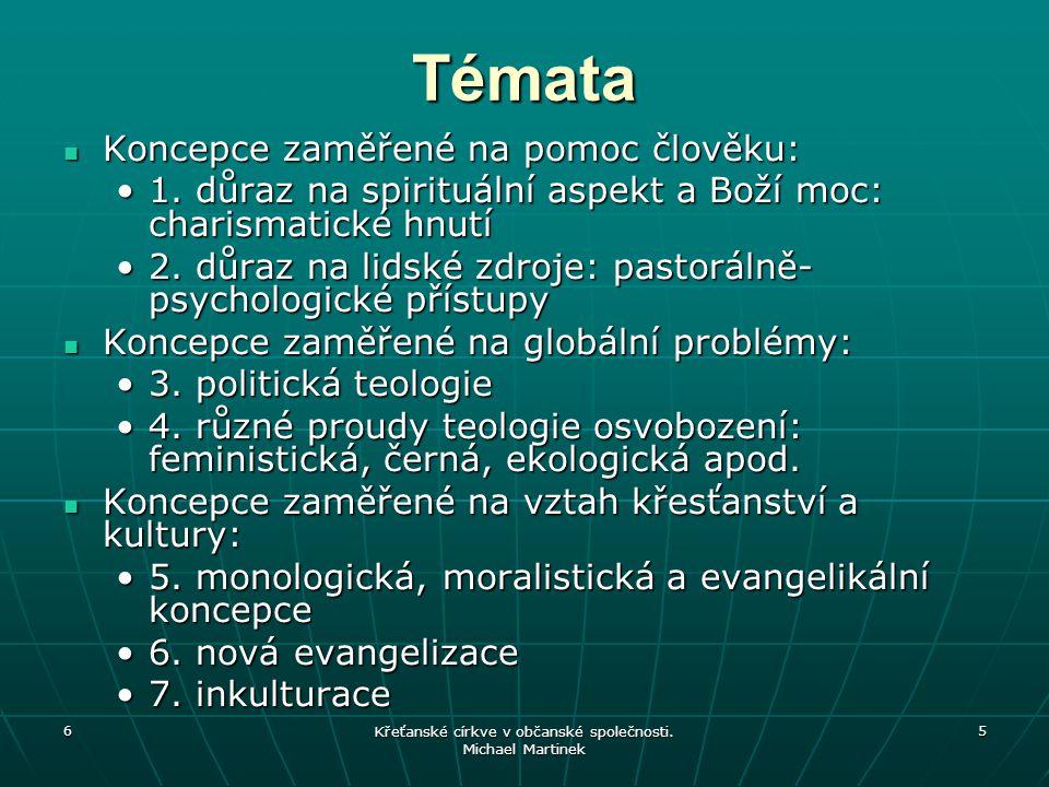 6 Křeťanské církve v občanské společnosti. Michael Martinek 5 Témata Koncepce zaměřené na pomoc člověku: Koncepce zaměřené na pomoc člověku: 1. důraz