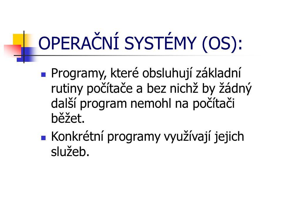 OPERAČNÍ SYSTÉM PROVÁDÍ: Organizuje přístup a využívání zdrojů počítače (čas procesoru, přístup k datům na discích, přístup do paměti).