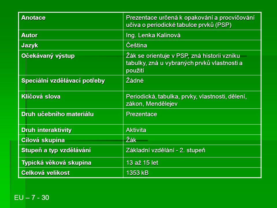 Periodická tabulka prvků Ing. Lenka Kalinová