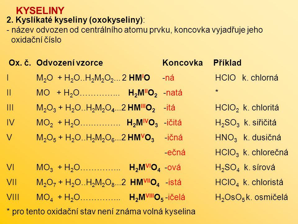 2. Kyslíkaté kyseliny (oxokyseliny): - název odvozen od centrálního atomu prvku, koncovka vyjadřuje jeho oxidační číslo Ox. č. Odvození vzorce Koncovk