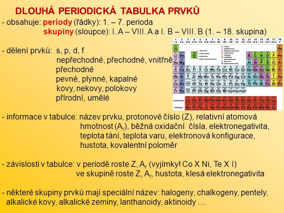 - obsahuje: periody (řádky): 1. – 7. perioda skupiny (sloupce): I. A – VIII. A a I. B – VIII. B (1. – 18. skupina) - dělení prvků: s, p, d, f nepřecho