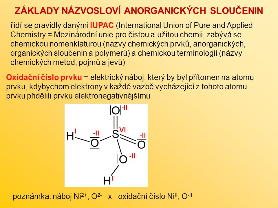- řídí se pravidly danými IUPAC (International Union of Pure and Applied Chemistry = Mezinárodní unie pro čistou a užitou chemii, zabývá se chemickou nomenklaturou (názvy chemických prvků, anorganických, organických sloučenin a polymerů) a chemickou terminologií (názvy chemických metod, pojmů a jevů) ZÁKLADY NÁZVOSLOVÍ ANORGANICKÝCH SLOUČENIN -II I I VI - poznámka: náboj Ni 2+, O 2- x oxidační číslo Ni II, O -II Oxidační číslo prvku = elektrický náboj, který by byl přítomen na atomu prvku, kdybychom elektrony v každé vazbě vycházející z tohoto atomu prvku přidělili prvku elektronegativnějšímu