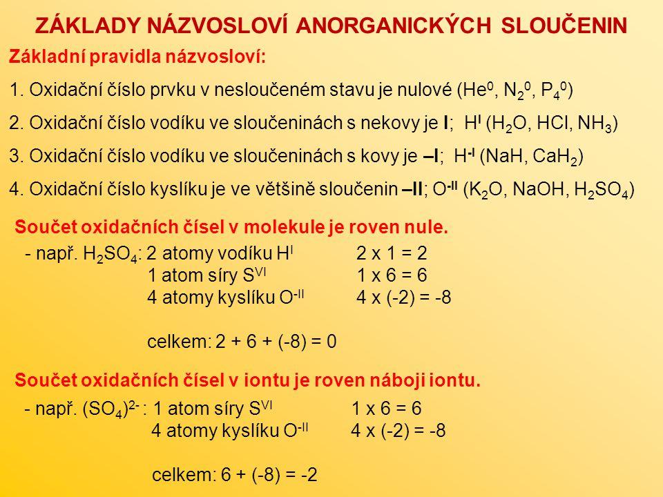 Základní pravidla názvosloví: 1. Oxidační číslo prvku v nesloučeném stavu je nulové (He 0, N 2 0, P 4 0 ) 2. Oxidační číslo vodíku ve sloučeninách s n