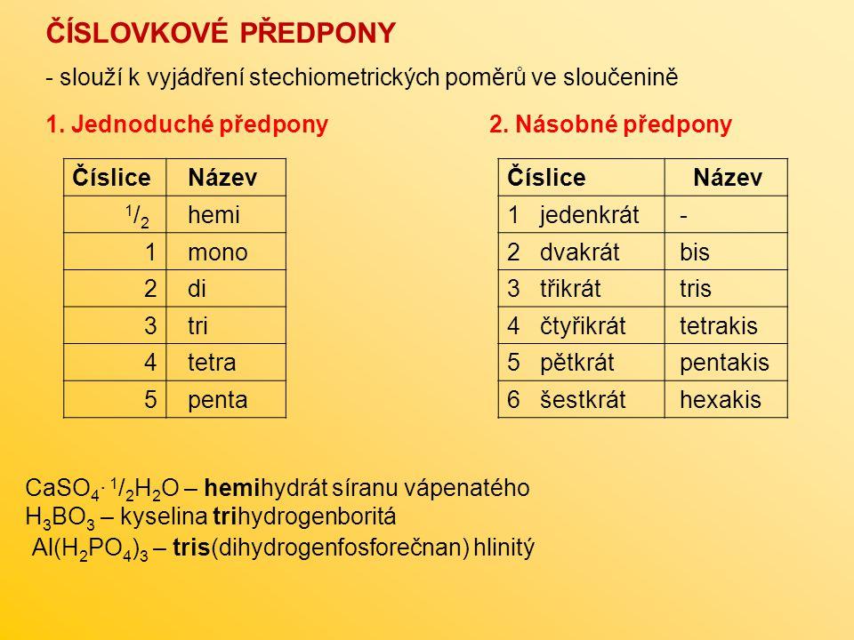 Číslice Název 1 / 2 hemi 1 mono 2 di 3 tri 4 tetra 5 penta CaSO 4 · 1 / 2 H 2 O – hemihydrát síranu vápenatého H 3 BO 3 – kyselina trihydrogenboritá Č