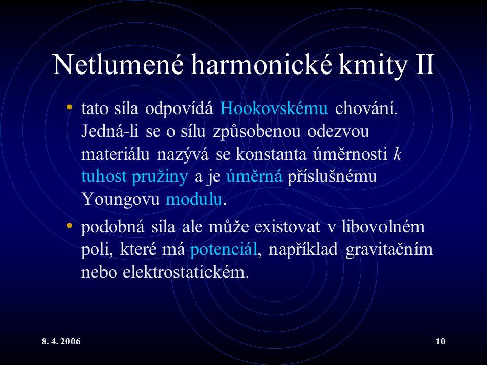 8. 4. 200610 Netlumené harmonické kmity II tato síla odpovídá Hookovskému chování. Jedná-li se o sílu způsobenou odezvou materiálu nazývá se konstanta