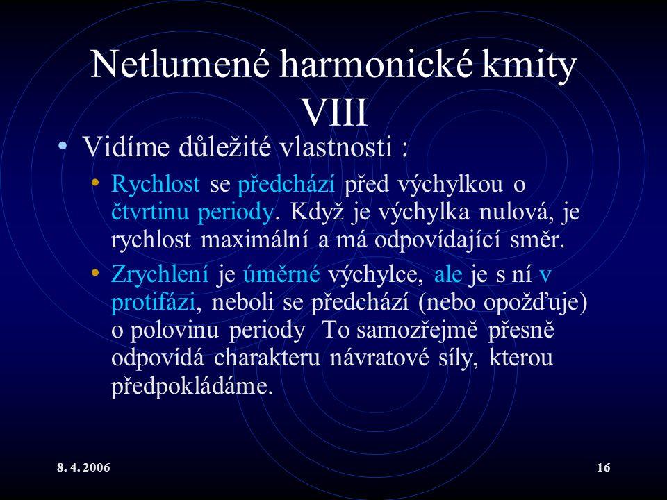 8. 4. 200616 Netlumené harmonické kmity VIII Vidíme důležité vlastnosti : Rychlost se předchází před výchylkou o čtvrtinu periody. Když je výchylka nu
