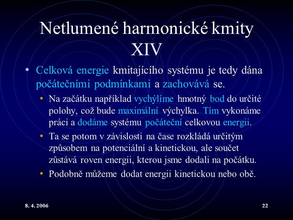 8. 4. 200622 Netlumené harmonické kmity XIV Celková energie kmitajícího systému je tedy dána počátečními podmínkami a zachovává se. Na začátku napříkl