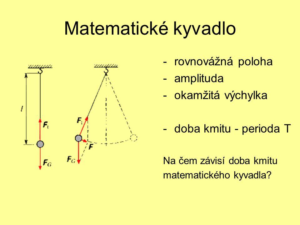 Matematické kyvadlo -rovnovážná poloha -amplituda -okamžitá výchylka -doba kmitu - perioda T Na čem závisí doba kmitu matematického kyvadla?