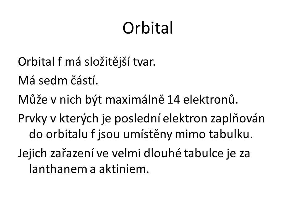 Orbital f má složitější tvar. Má sedm částí. Může v nich být maximálně 14 elektronů.