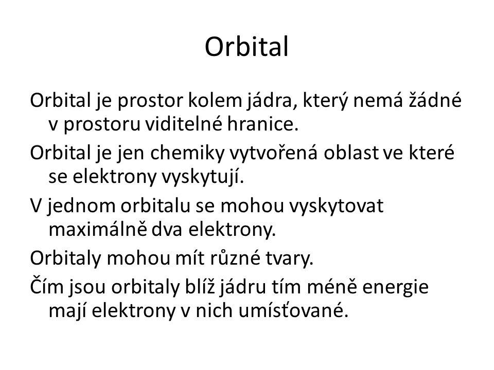 Orbital Orbital je prostor kolem jádra, který nemá žádné v prostoru viditelné hranice.
