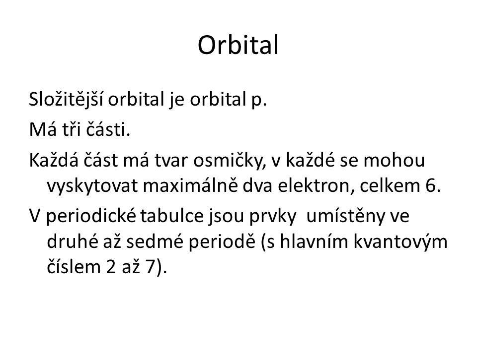 Orbital Složitější orbital je orbital p. Má tři části.