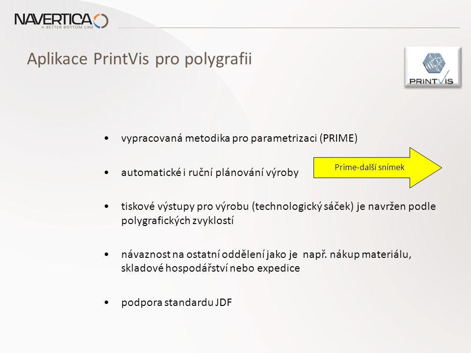 Aplikace PrintVis pro polygrafii systém eviduje všechny podklady zákazníků (pdf,..) nástroje a metodika pro výpočet sazeb nákladových míst zabezpečuje správné vedení technologických postupů optimalizační algoritmy minimalizující náklady (správné rozměry papíru, definice tiskových délek,..) nástroje a metodika pro výpočet sazeb nákladových míst