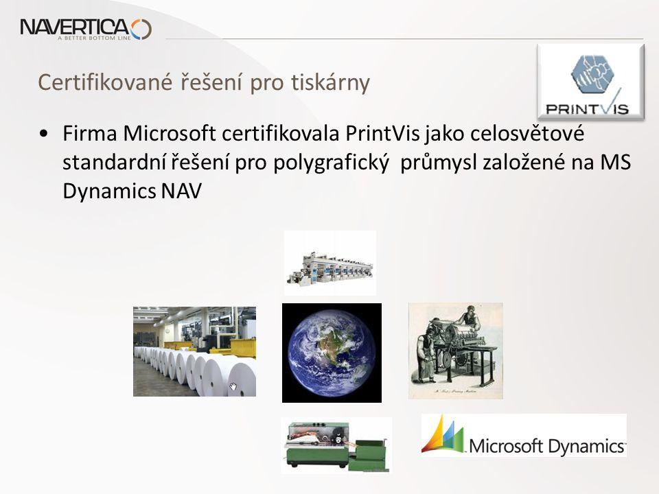 Certifikované řešení pro tiskárny Firma Microsoft certifikovala PrintVis jako celosvětové standardní řešení pro polygrafický průmysl založené na MS Dynamics NAV