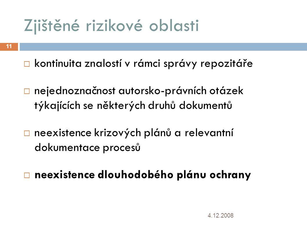 Zjištěné rizikové oblasti 4.12.2008 11  kontinuita znalostí v rámci správy repozitáře  nejednoznačnost autorsko-právních otázek týkajících se někter