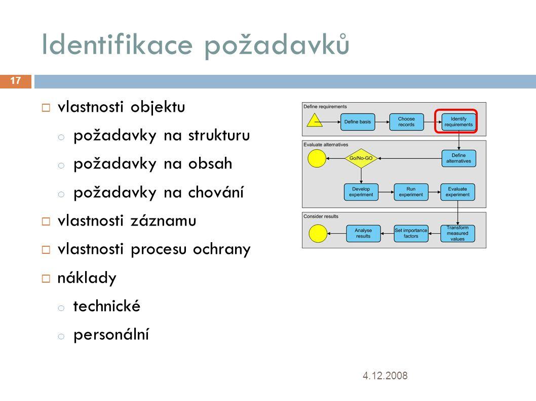Identifikace požadavků 4.12.2008 17  vlastnosti objektu o požadavky na strukturu o požadavky na obsah o požadavky na chování  vlastnosti záznamu  vlastnosti procesu ochrany  náklady o technické o personální